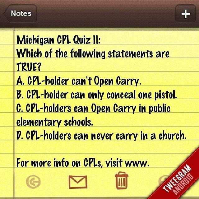 LAID - Legally Armed In Detroit (Michigan CPL CCW Classes): Quiz ...