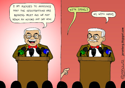 mahmoud abbas abu mazen standing at podium with microphones addressing news conference reporters i am pleased to announce that the negotiations are bearing fruit and we may reach an accord any day now hand raised question with israel no with hamas