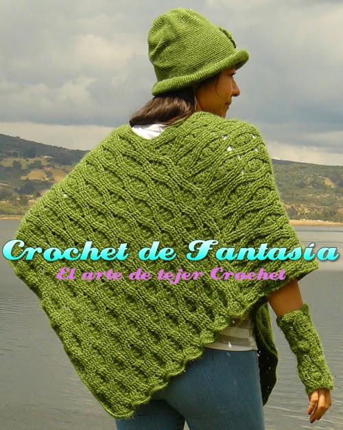 Crochet de Fantasía: Crochet Poncho Asimétrico con Gorro y Guantes