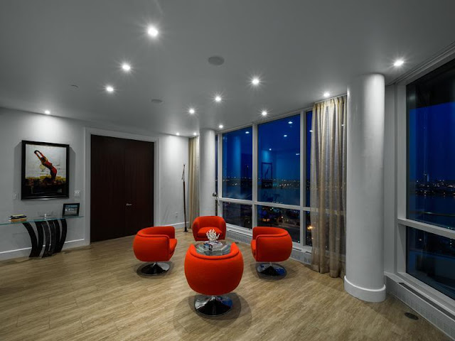 Photo of red chairs in one of the room inside of Philadelphia penthouse