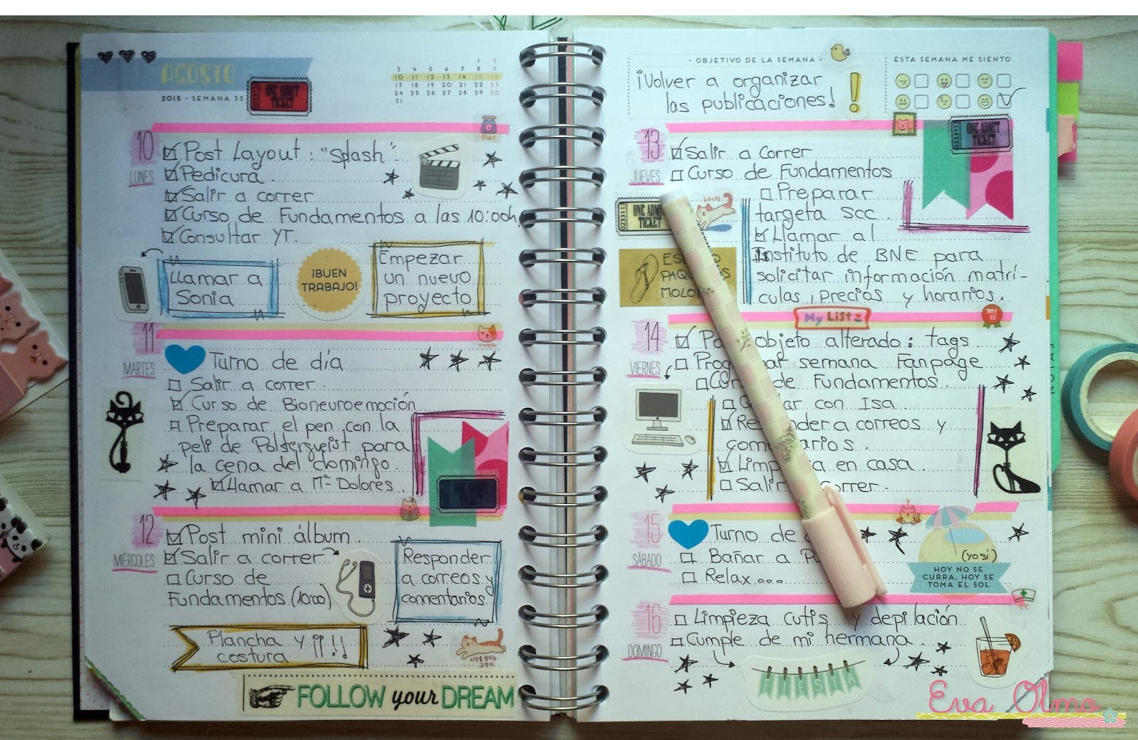 El caracol verde decoraci n de mi agenda mr wonderful - Como decorar una agenda ...