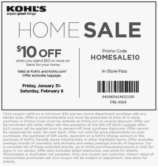 Kohls coupons sent to home