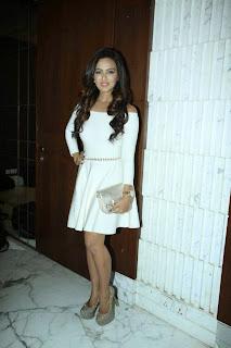 Actress Sana Khan Pictures in White Short Dress at Aaarya Babbar Book Launch  9.JPG