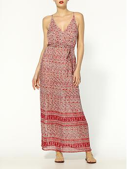 Neptune Border Printed Pleated Silk Dress