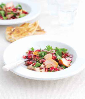 Hot-smoked salmon, lentil and pomegranate salad