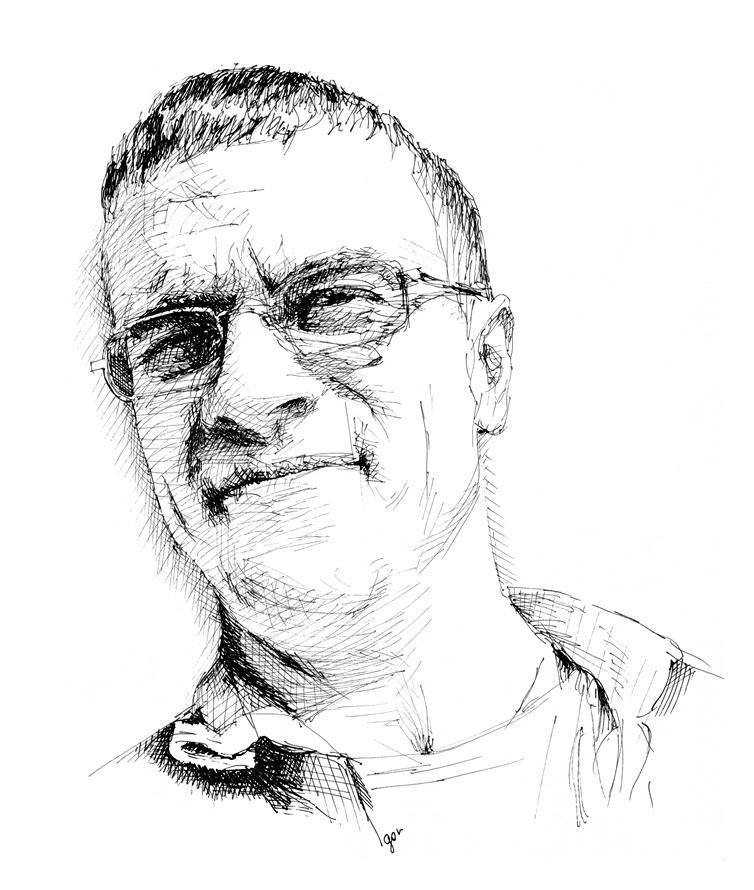 ink sketch, portrait.