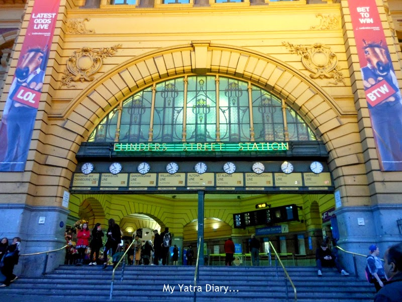 Flinders street station in night lights, Melbourne Australia