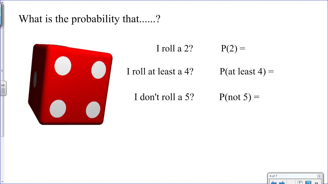 Mr collins mathematics blog probability lesson nqt final assessment to provide a link into the main activity i then did a similar thing with a dice rather than a bag of marbles to show that regardless of the event the robcynllc Images