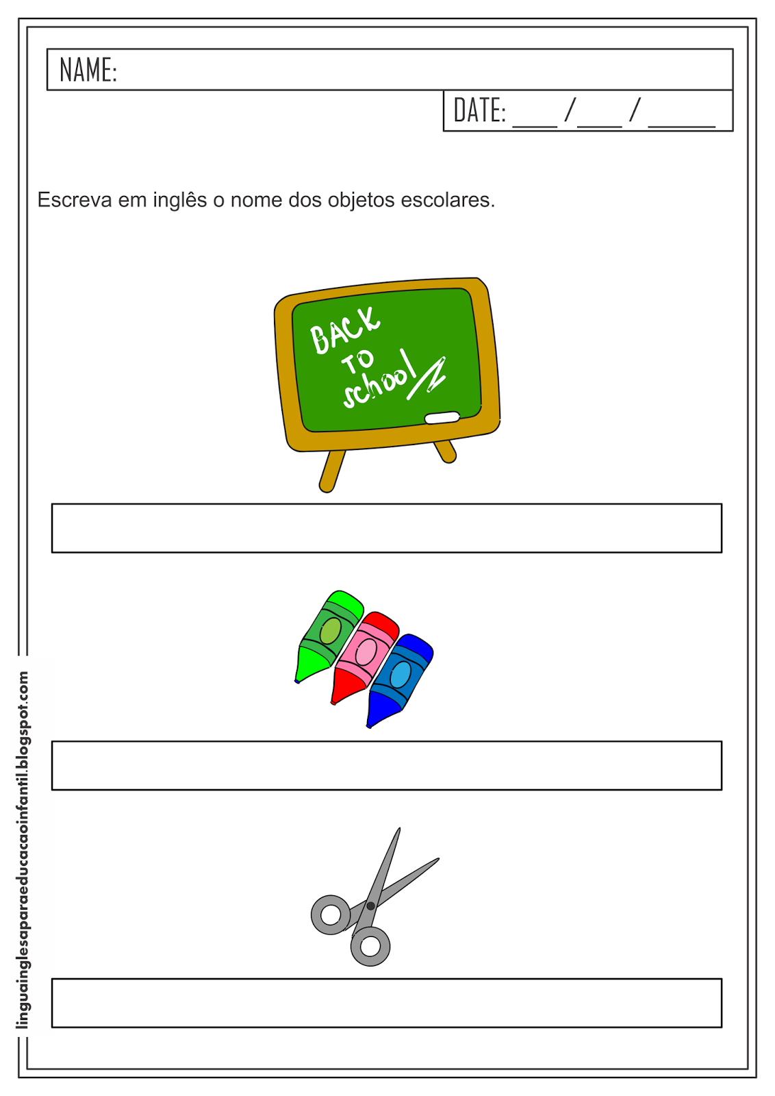 Vocabulário escolar - Atividade de Inglês