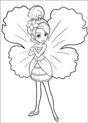 Barbie Thumbelina Coloring Pages Team colors