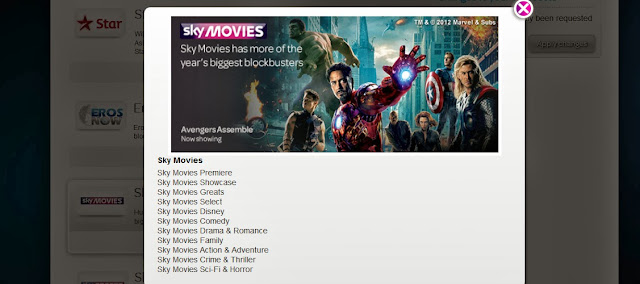TalkTalk sky movies channel add on list