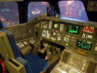 The inside of a spaceship cockpit at the Houston Space Center