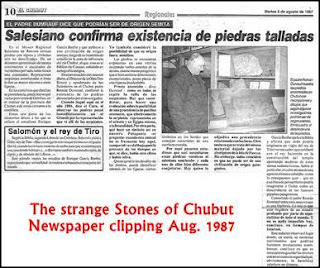 Article on Aramaic inscriptions found in Chubut, PATAGONIA