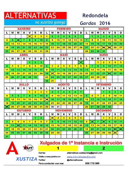 Redondela. Calendario gardas 2016