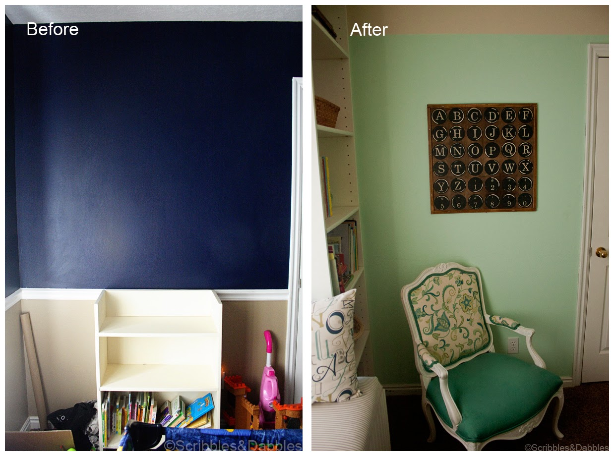 Scribbles&Dabbles: Nursery Reveal -- chair wall before and after