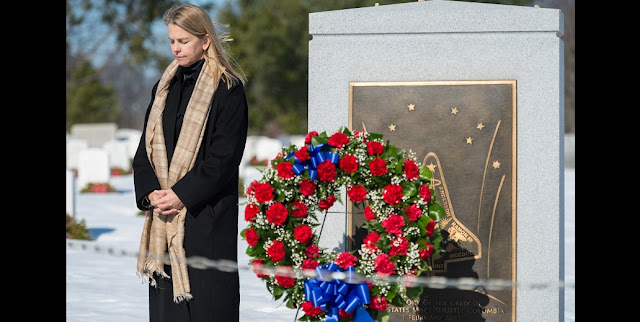 NASA Deputy Administrator Dava Newman has a moment of silence during a wreath laying ceremony as part of NASA's Day of Remembrance on the 30th anniversary of the Challenger accident, Thursday, January 28, 2016, at Arlington National Cemetery. The wreaths were laid in memory of those men and women who lost their lives in the quest for space exploration. Photo Credit: (NASA/Aubrey Gemignani)
