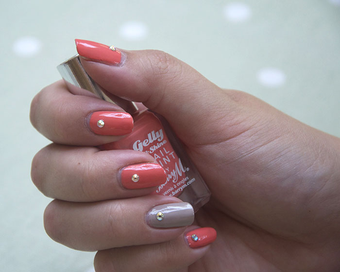 Barry M Papaya Nude Swaovski Crystal Nail Art Nails