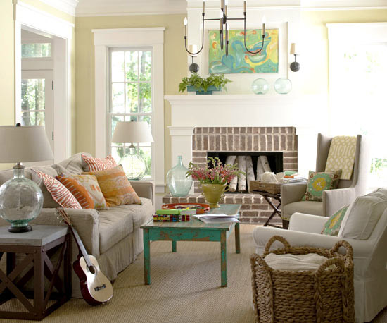 2013 neutral living room decorating ideas from bhg for Neutral green living room