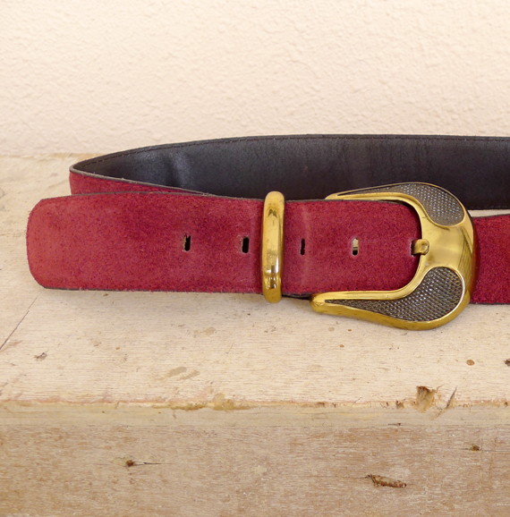 80's maroon suede belt