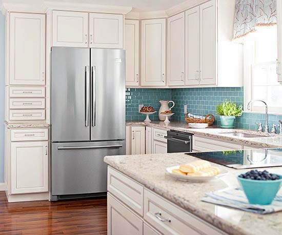 tone, glazing, and distressing techniques will give white cabinets