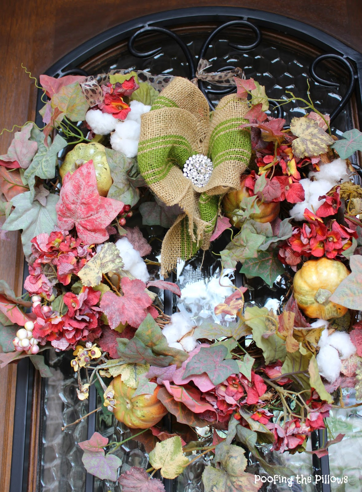 fall wreath, cotton wreath, burlap