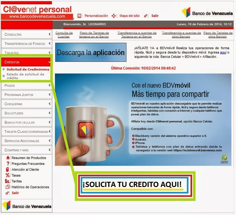 Descargar planilla credinomina banco de venezuela notilogia Banco venezuela clavenet