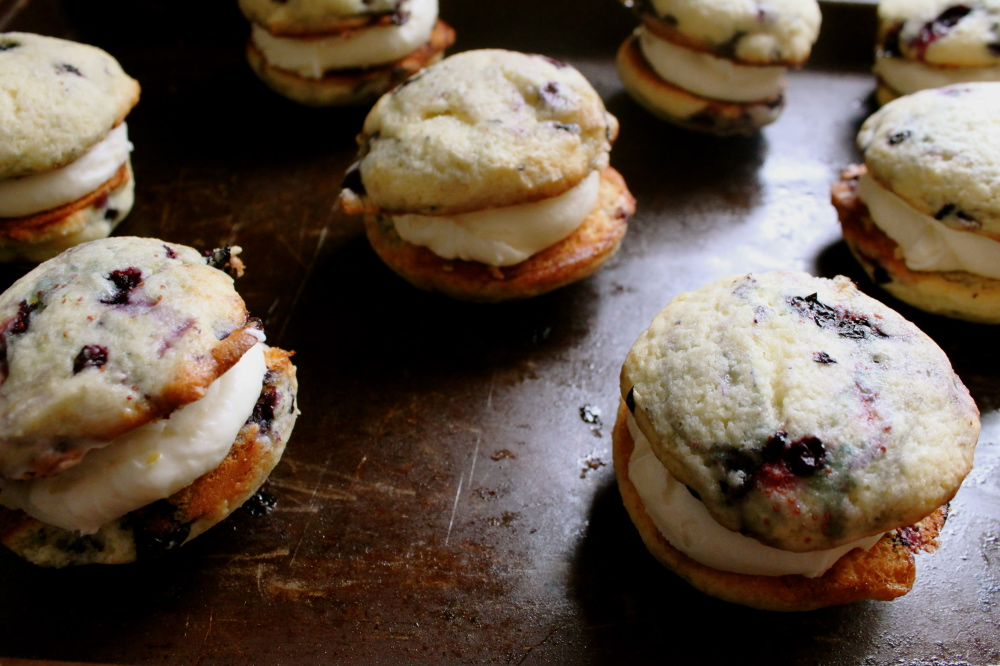 ... Baked Goods: Blueberry Whoopie Pies with Lemon Cream Cheese Filling