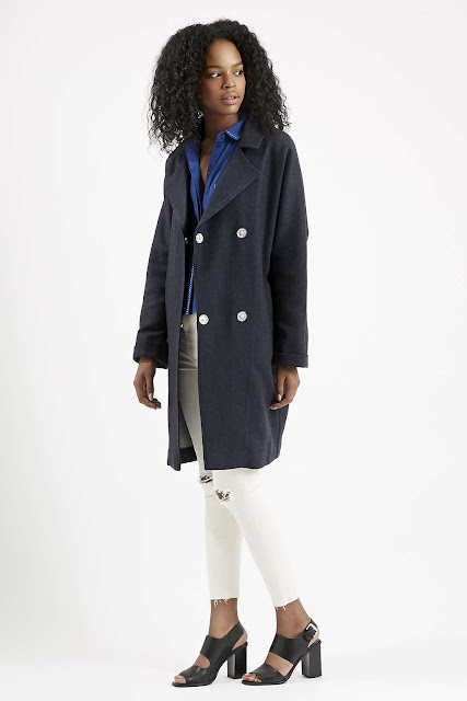 navy wool contrast button coat