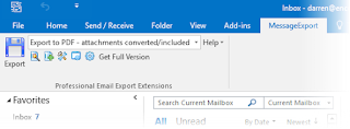 Screen shot of MessageExport addin for Outlook 2016.