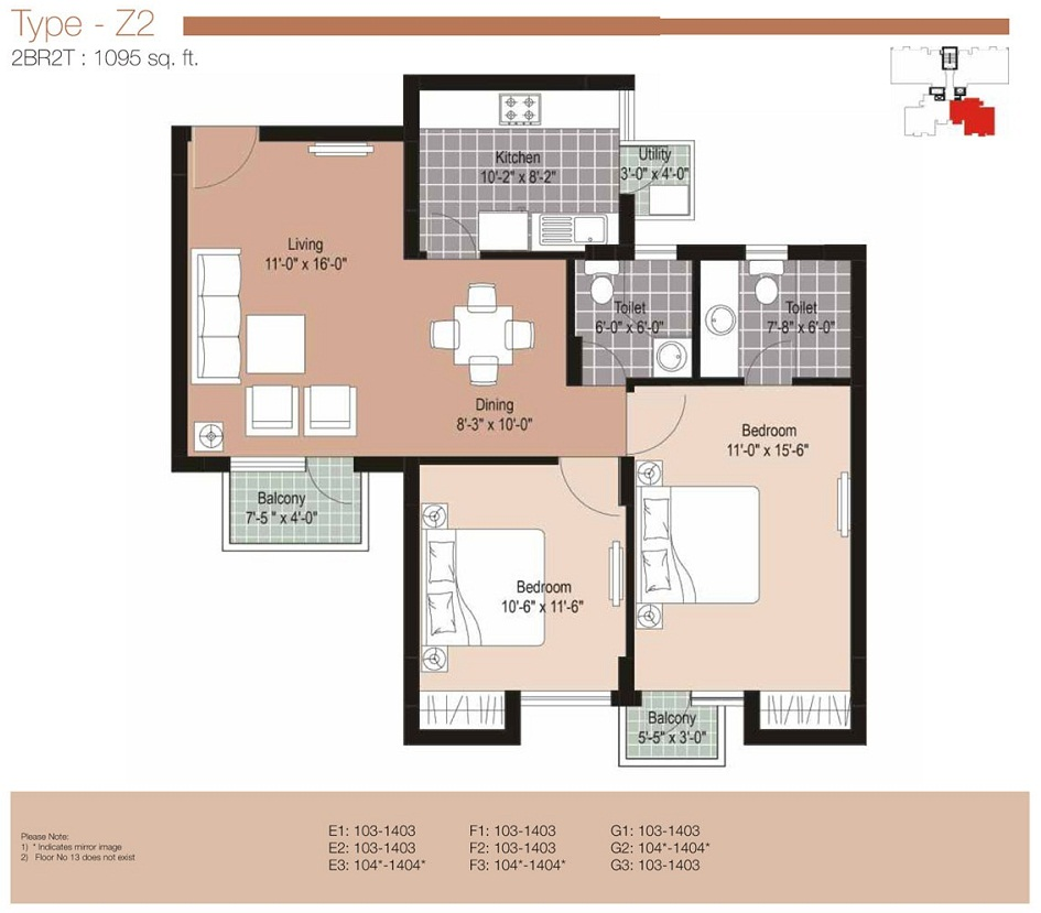 Floor Plan 2 Bhk 1100
