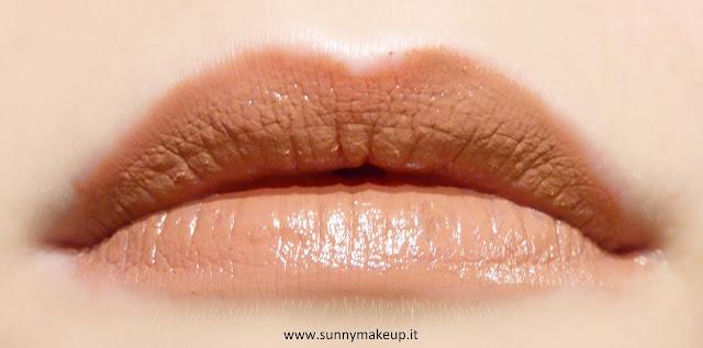 Pupa - Soft & Wild. Collezione autunnale 2015. Soft&wild Soft & Wild I'm Lipstick. Swatch sulle labbra. 002 Soft Brown Nude.