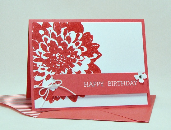 Clean and simple Definitely Dahlia Watermelon Wonder embossed birthday card.