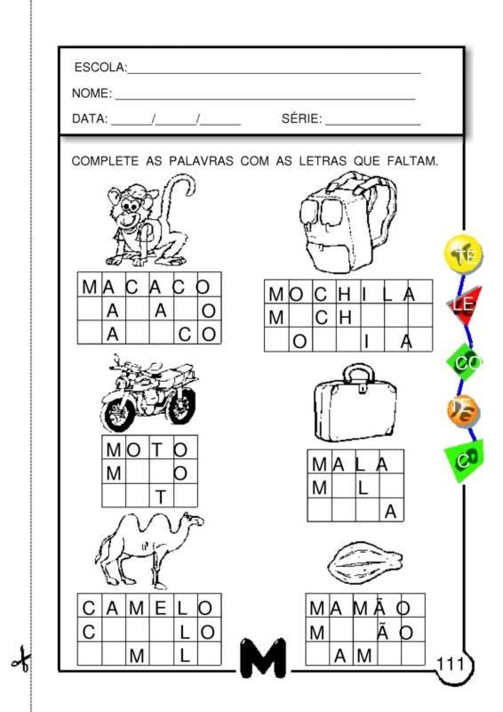 Excepcional Blog Professor Zezinho : Atividades Com a Letra M IF84