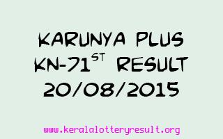 Karunya Plus KN 71 Lottery Result 20-8-2015