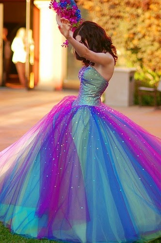 Colored Long Dress With Diamonds