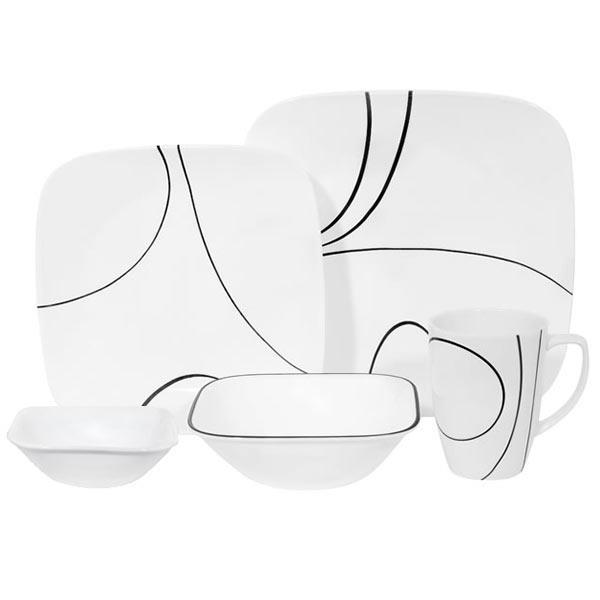 Walmart Corelle Square Collection 16 Pc Dinnerware Set Wm Ca