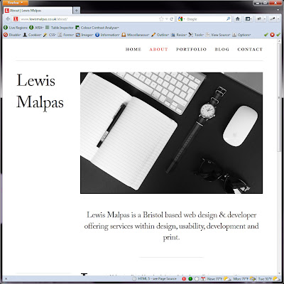 Screen shot of http://www.lewismalpas.co.uk/about/.