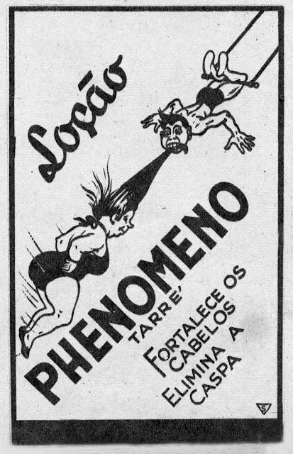 Propaganda da Loção Phenomeno que buscava o fortalecimento do cabelo de homens e mulheres.