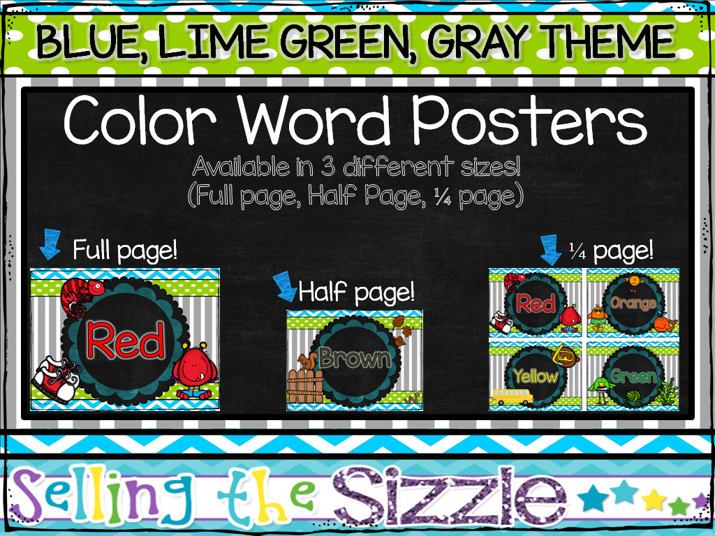 http://www.teacherspayteachers.com/Product/Color-Word-Posters-Blue-Lime-Green-Gray-themed-1317413