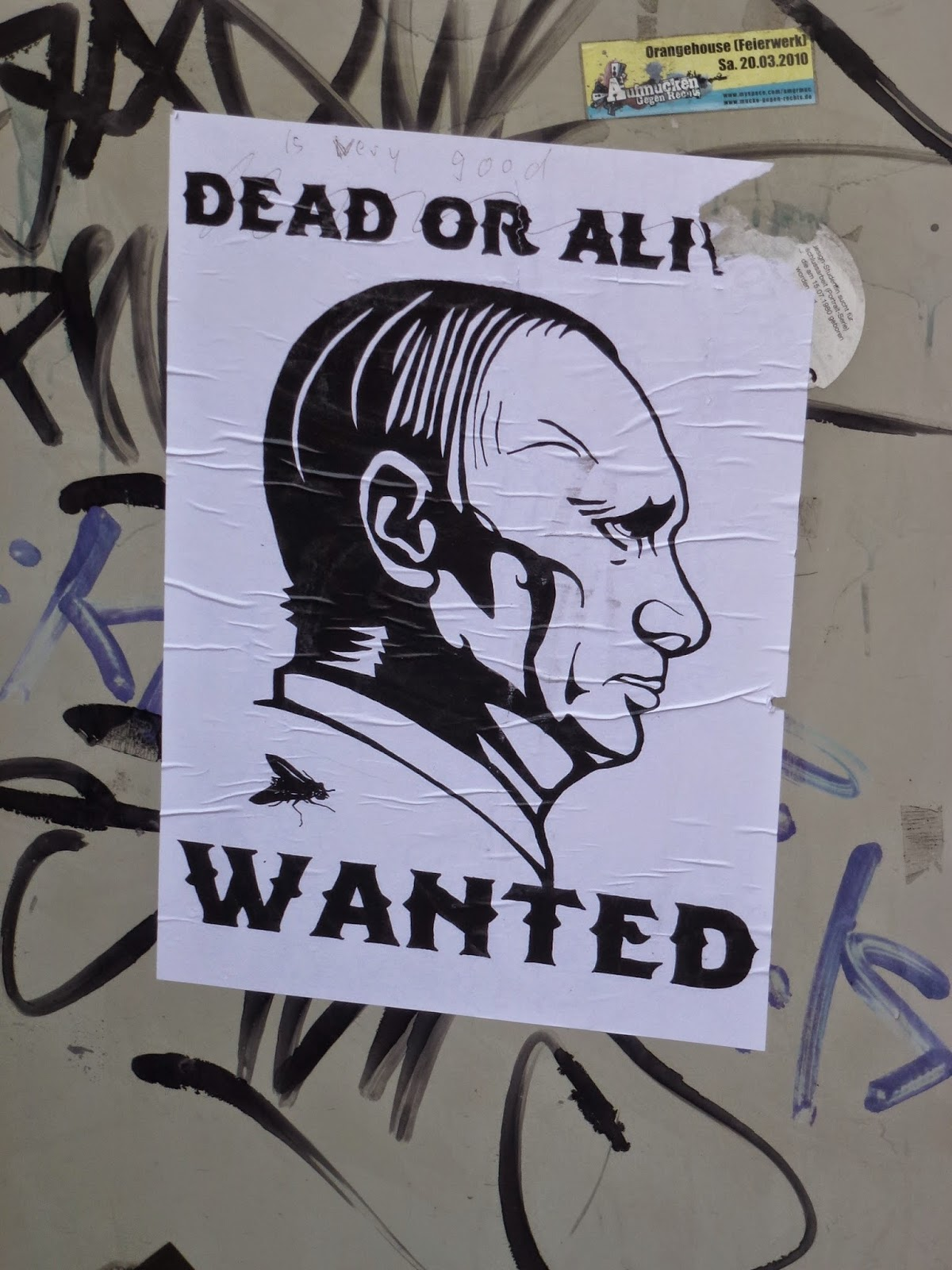 Dead or Alive, Wanted, Putin,Poster, Schulstraße, München