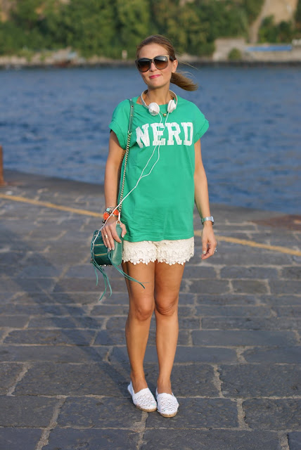 white lace shorts, nerd t-shirt, Rebecca Minkoff green zipper bag, Panasonic headphones white, Fashion and Cookies, fashion blog