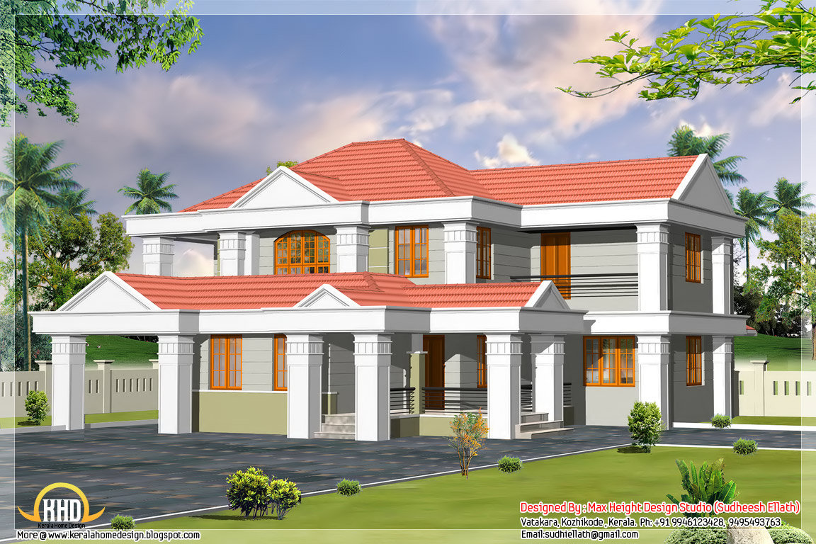 6 different indian house designs kerala home design and for Sloped roof house plans in india