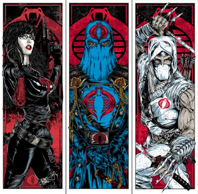 Acidfree Gallery x Hasbro G.I. Joe Screen Print Series - Cobra Standard Edition Triptic by Rhys Cooper: The Baroness, Cobra Commander & Storm Shadow