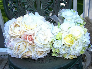 Parisian vintage french linen flower bridal bouquet by WeddingFlowerShop