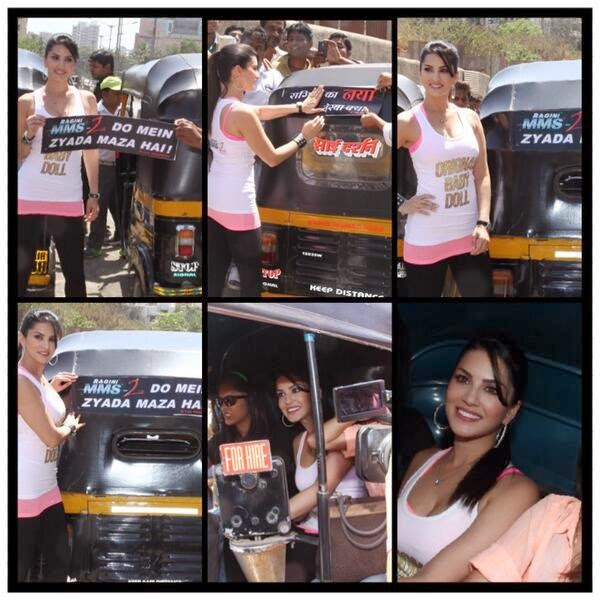 Sunny Leone promoting Ragini MMS 2 through Auto-rickshaw campaign