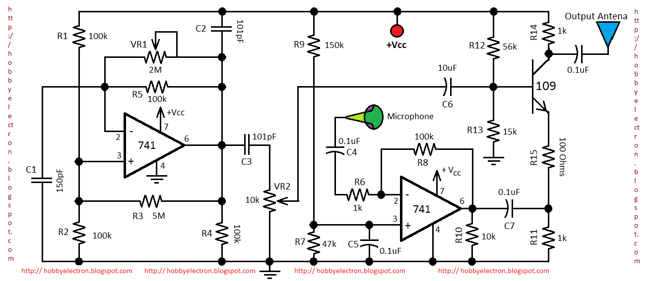 am transmitter circuit diagram using 741 op