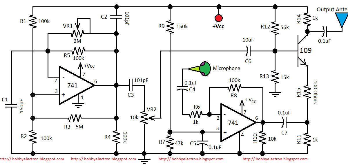 hobby in electronics  am transmitter circuit diagram using 741 op