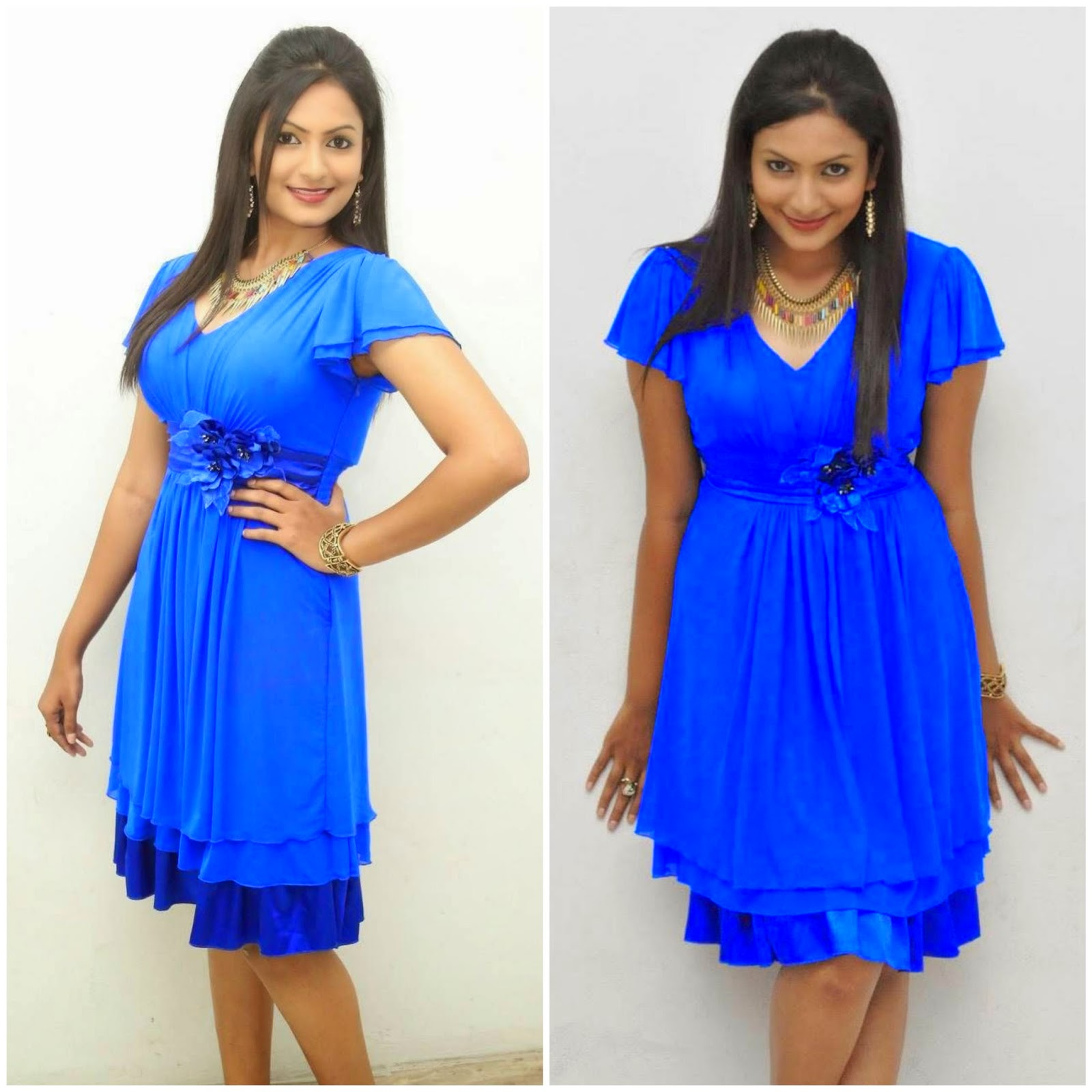 Actress Swetha Varma Latest Hot Blue Dress Spicy Photos Gallery At Gang Of Gabbar Singh Audio Launch