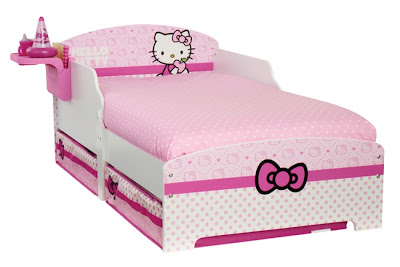 Hello Kitty cute storage table bed design