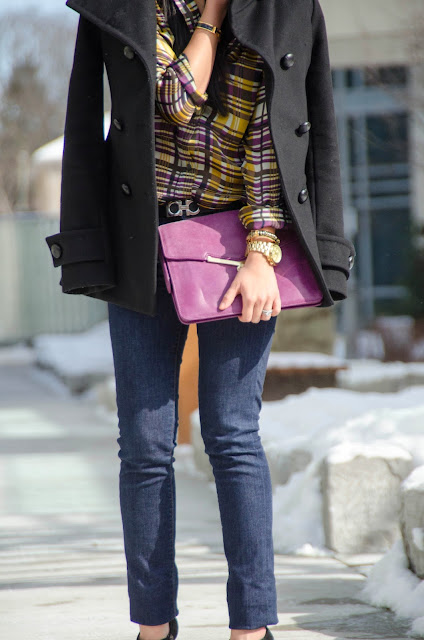 T.Babaton Howell Wool Coat, Suno, Sam Edelman, Botkier, suede booties, silk blouse, Michael Kors oversized watch